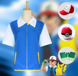 Pokemon-Ash-Ketchum-Trainer-Kostuem-Cosplay-Hemd-Jacke-Handschuhe-Hut-Ball