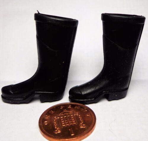 Escala 1:12 conjunto de botas Wellington Negro Casa de Muñecas en Miniatura Accesorio De Jardín