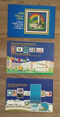 3 Souvenir Folder Of United Nations Postage Stamps Issued In New York & Geneva