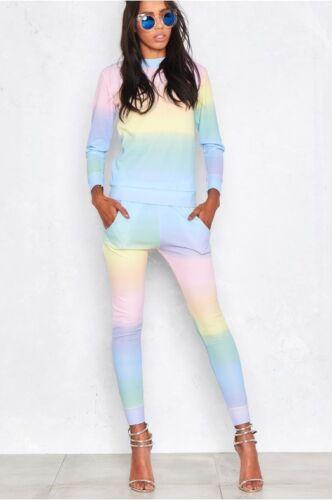 Ladies Womens Lounge Wear Rainbow Tracksuits Active Joggers 2 Pcs Tracksuit 8-26