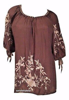 Urban Mangoz Plus Size 1X, 3X, Chocolate Embroidered Peasant Top XT2555 MSRP $57