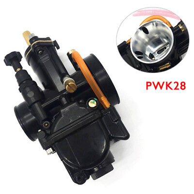 28mm Titanium Black Flat Slide Carburetor For Keihin Carb PWK Mikuni  w/Power Jet 6667831442689 | eBay