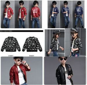 5c4322991469 Kids Faux Leather Bike Jacket Boy Girl Leather Jacket Size 3-16 ...