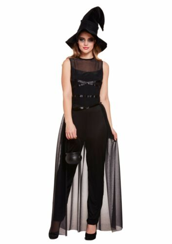 Halloween Ladies Black Long Witch Jumpsuit Costume /& Hat One Size Approx UK10-14