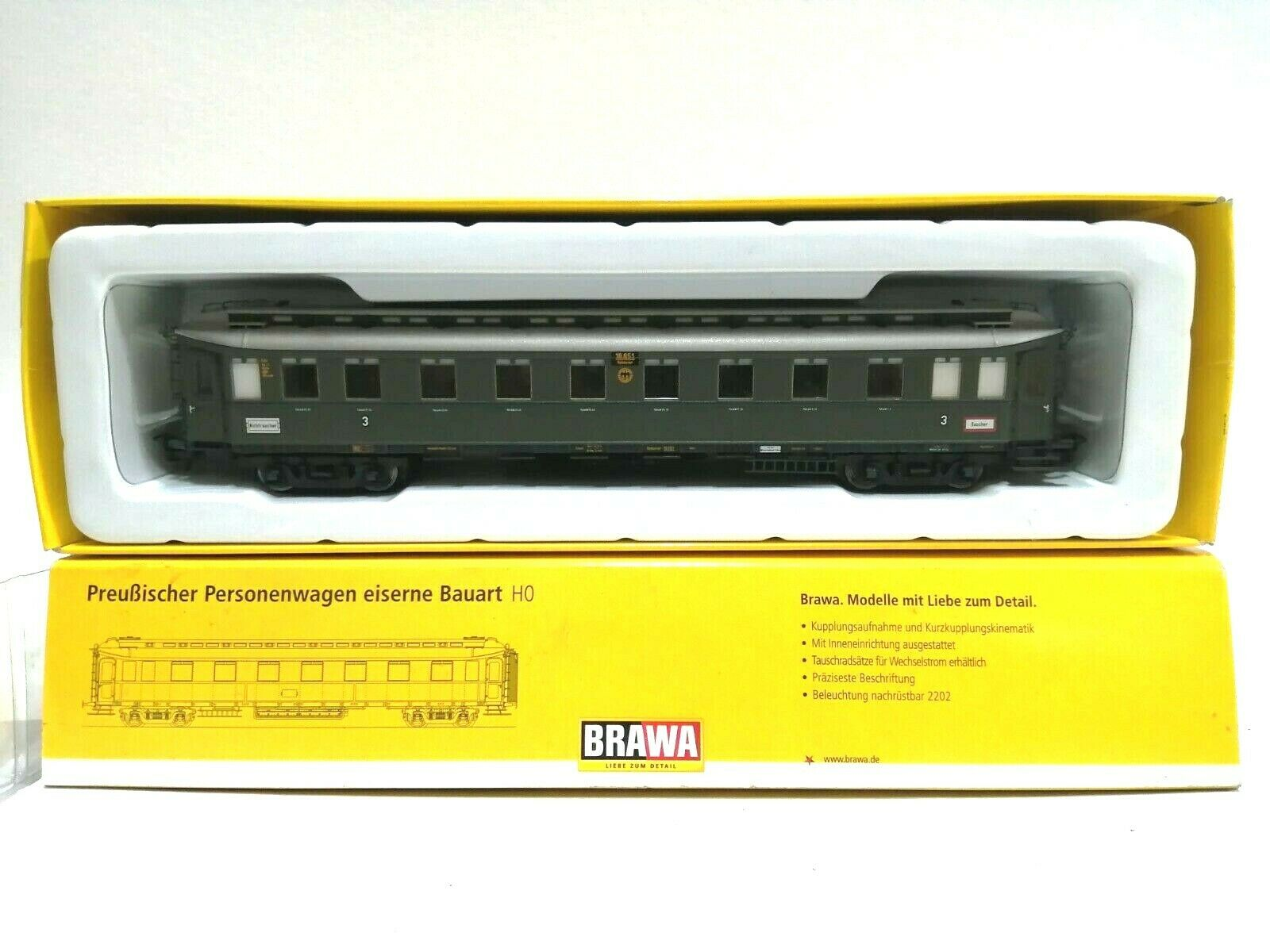 BRAWA 45212 h0 treno rapido auto 3.kl. DRG NuovoScatola OriginaleCon Garanzia