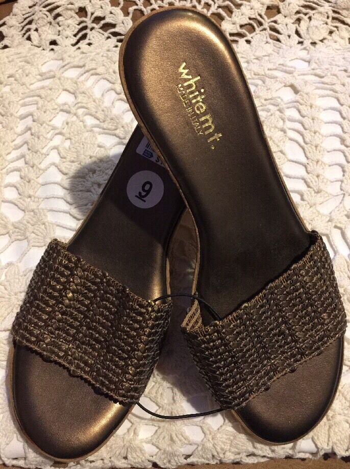 ️White Mt. Wedges Bronze   golden Brown Leather Weave Sz 9 M  NWT