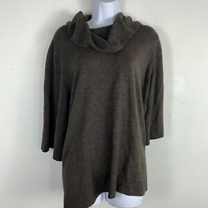 Designer-Originals-Womens-Top-Sz-L-Brown-Cowl-Neck-3-4-Sleeve-Knit-DM11