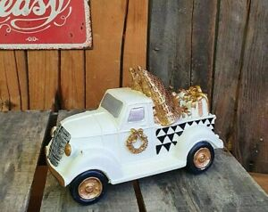 Edles Auto Weihnachten Weihnachtsauto mit Tannenbaum 21cm Deko Tisch Gold