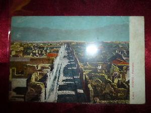 Vintage-POMPEI-Panorama-CARTE-POSTALE-Postcard-Colour-Italy-Pompeii-Mt-Vesuvius