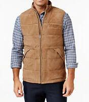 Mens Tasso Elba 100% Genuine Suede Leather Quilted Jacket Vest M $500