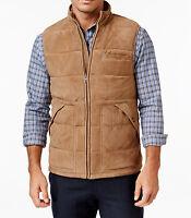 Mens Tasso Elba 100% Genuine Suede Leather Quilted Jacket Vest M $500