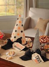 Mud Pie Halloween Witch Hat Set Burlap 2 Piece Table Mantle Decor Orange 4265117