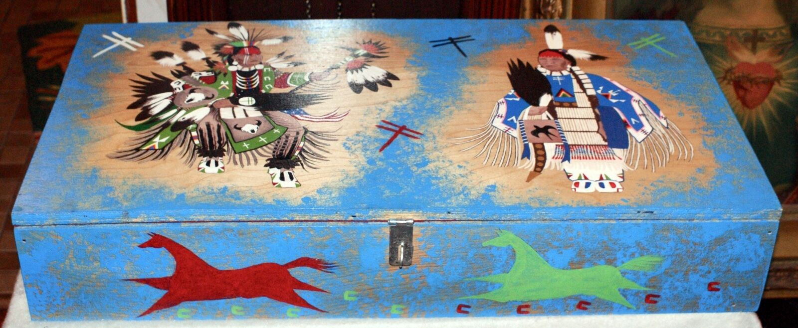 Hand Made Hand Painted Wooden Box &Chest By LaKota Indian Tribe-Devils Lake N.D.