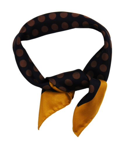Silk square scarf featuring brown dots on navy blue background with gold border