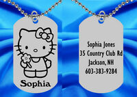 Hello Kitty Dog Tag Necklace For Kids, Personalized Free With Name