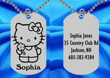 Hello Kitty Dog Tag Necklace for Kids, Personalized FREE with NAME!