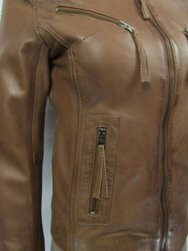 cognac en cuir clair motard ajustée marron pour dames ajustée Veste courte qv06AwwY