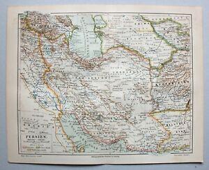 Persien, Afghanistan, Belutschistan - Alte Landkarte - Lithographie 1890