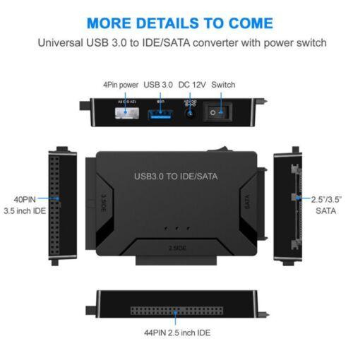 "USB 3.0 to IDE /& SATA Converter External Hard Drive Adapter Kit for 2.5/""//3.5/"" YK"