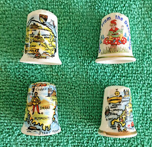 Set-Of-4-English-Counties-Bone-China-Thimbles-Collectable-English-Places