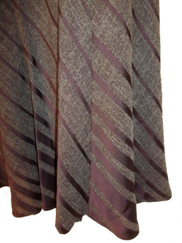 NEW EX M /& S WOMENS UK12 to 18 HEATHER  BROWN SATIN STRIPE PANELLED SKIRT