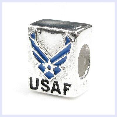 925 Sterling Silver US Air Force USAF Patriotic Bead for European Charm Bracelet