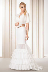 New-Women-Wedding-Bridal-Fishtail-Petticoat-Underskirt-Dress-Crinoline-Skirt