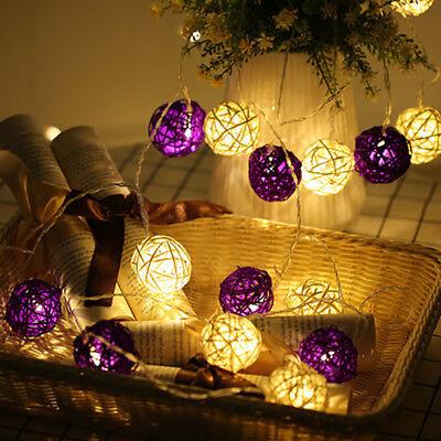 10 Led Wicker Rattan Ball Fairy String Lights Christmas Xmas Decorations Indoor Ebay