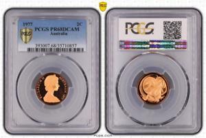 1977-AUSTRALIA-2-CENTS-BU-PCGS-PR68RD-DCAM-BEAUTIFUL-PROOF-GRADED-COIN