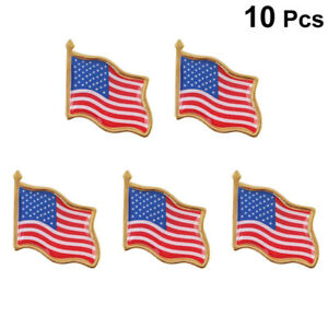 10PCS American Waving Flag Lapel Pin Patriotic United States USA Tack Badge