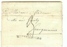 LETTRE BAS RHIN M.P. 67 WISSEMBOURG 45x9 ET DEMI   DU 13 SEPTEMBRE 1806