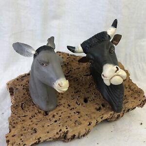 Coppia-galline-Animale-Da-Presepe-Napoletano-Cortile-Scena-Campestre-scultura