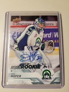 18-19-UD-CHL-JOEL-HOFER-SP-STAR-ROOKIE-AUTO-SIGNATURE-CARD-TEAM-CANADA-JR-GOLD
