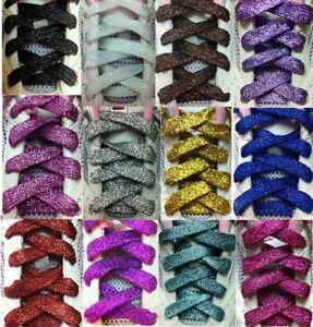 1Pair-Flat-Glitter-Colored-Shoe-Laces-Shoe-Laces-Bootlaces-110cm-Fashion