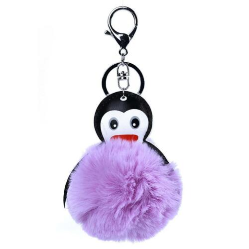 Cartoon Penguin Keychain Fluffy Ball Dangle Keyring Key Chain Bag Charm Gift LC