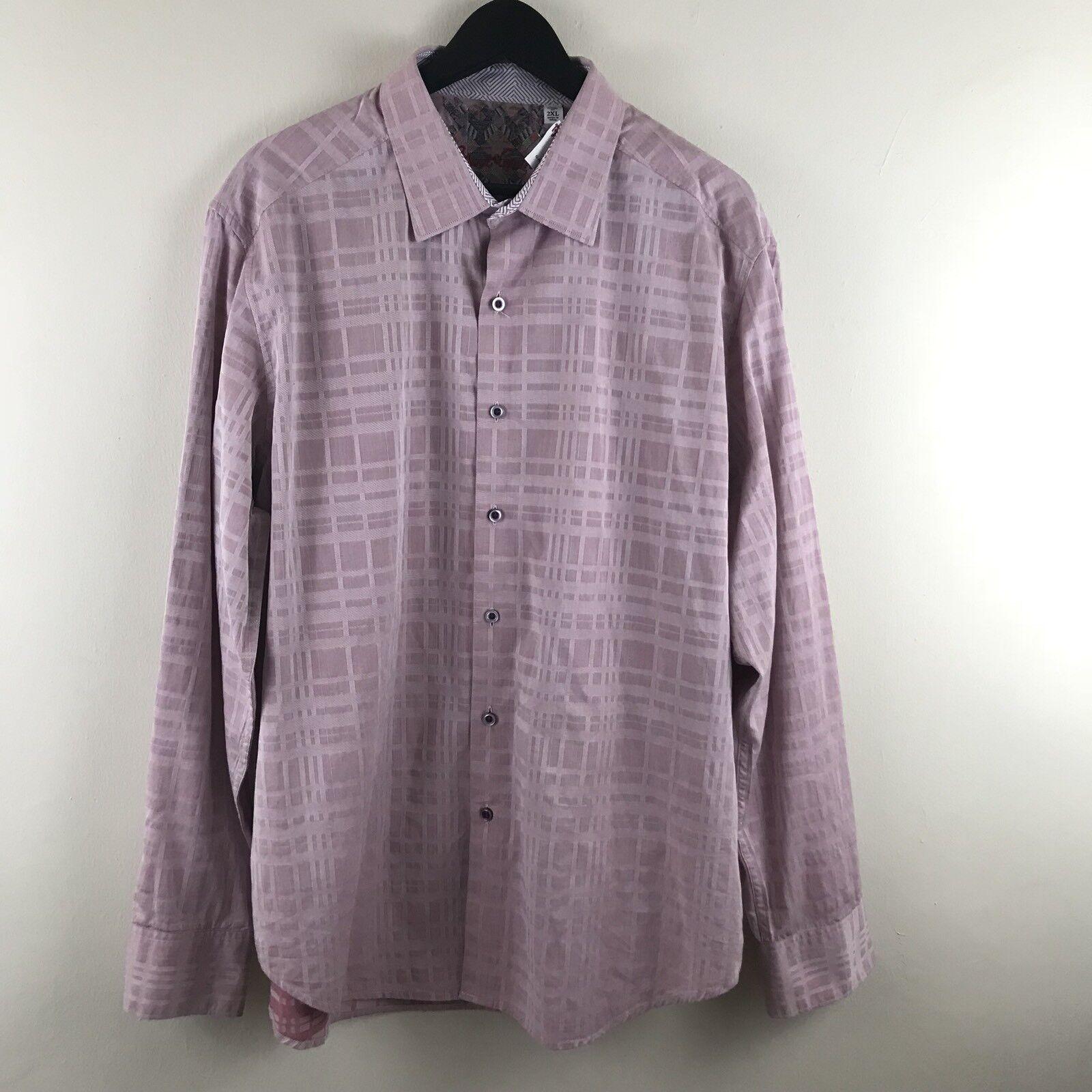 Robert Graham Mens Shirt Geometric Flip Cuffs Berry Pink Size 2XL NWOT