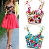 Summer Tank Tops Women Bustier Bra Vest Zipper Flower Crop Top Bralette Blouse