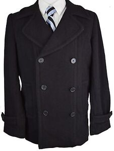 Z366-NEW-BLOOMINGDALES-Solid-Black-Winter-Double-Breasted-Coat-44R