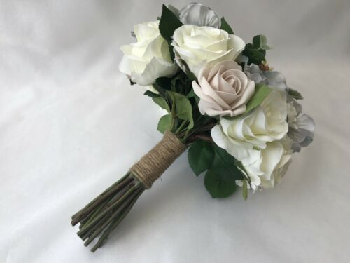 Wedding Bouquets Silk ivory Rose brides flowers posy bridesmaid flower girl wand