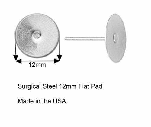 800 Earring Stud Post 12mm Pad /& Backs Hypo-Allergenic Stainless Steel USA Made