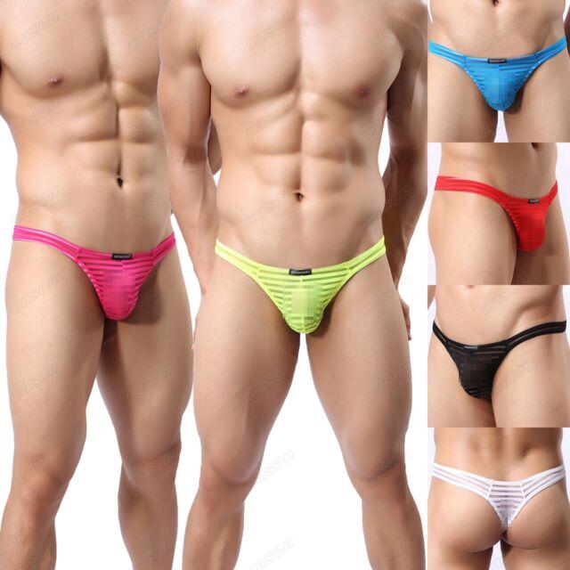 Brand Men's Striped Underwear Gauze Sheer Thongs Sexy T-back Underpants M-XL 37