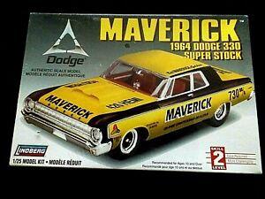 """New In Box LINDBERG  1//25 Scale /""""Maverick/"""" 1964 Super Stock Dodge 330 Kit"""
