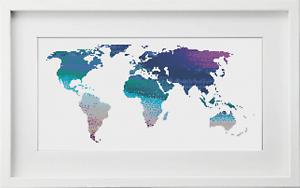 Map of World Cross Stitch Kit Watercolour Cross Stitch Landscape Cross Stitch