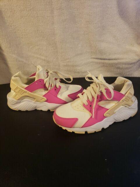 Girls sz 3.5Y (EUR 35.5) Nike Air Huarache Run Shoes PINK WHITE BEIGE