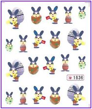 Nail Art Water Decals Stickers Transfers Easter Bunny Rabbit Eggs Chicken (1636)