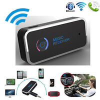 Wireless Bluetooth 3.5mm AUX Audio Stereo Music Car Receiver Adapter Mic w/ LED