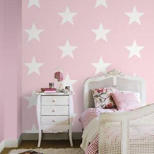 World-Of-Wallpaper-Etoile-Blanc-sur-Marine-Rose-273488-Chambre-Maternelle