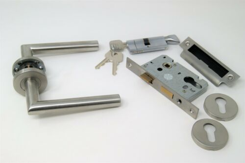 Mitred Handle Pack Cylinder /& Turn Lock Set FOR 44//45MM FIRE DOORS