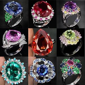Man-925-Silver-Woman-Fashion-Amethyst-amp-Sapphire-Cocktail-Wedding-Ring-Size-6-10