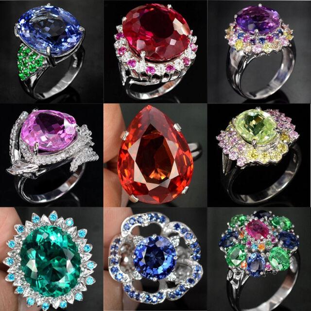 Man 925 Silver Woman Fashion Amethyst&Sapphire Cocktail Wedding Ring Size 6-10